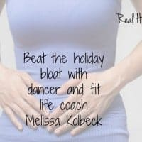 Beat the bloat holiday edition, women holding her stomach