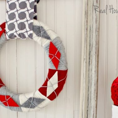 DIY Yarn Argyle Festive Christmas Wreath