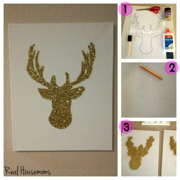 DIY Glitter Reindeer Canvas | Real Housemoms