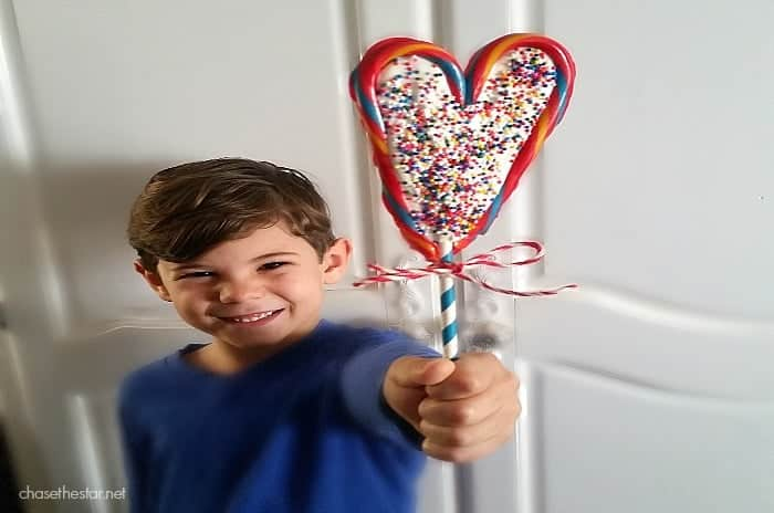 Candy Cane Chocolate Heart, Kid holding Candy cane Chocolate heart