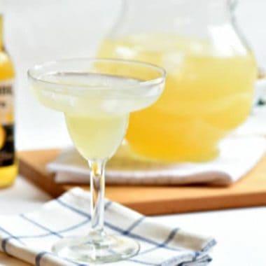 Beergarita cocktail in a margarita glass mixture of corona and margarita