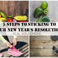 5 steps to sticking to your New Years resolutions. photo collage four photos of: veggies, fruit, weights and women tiying running sneakers