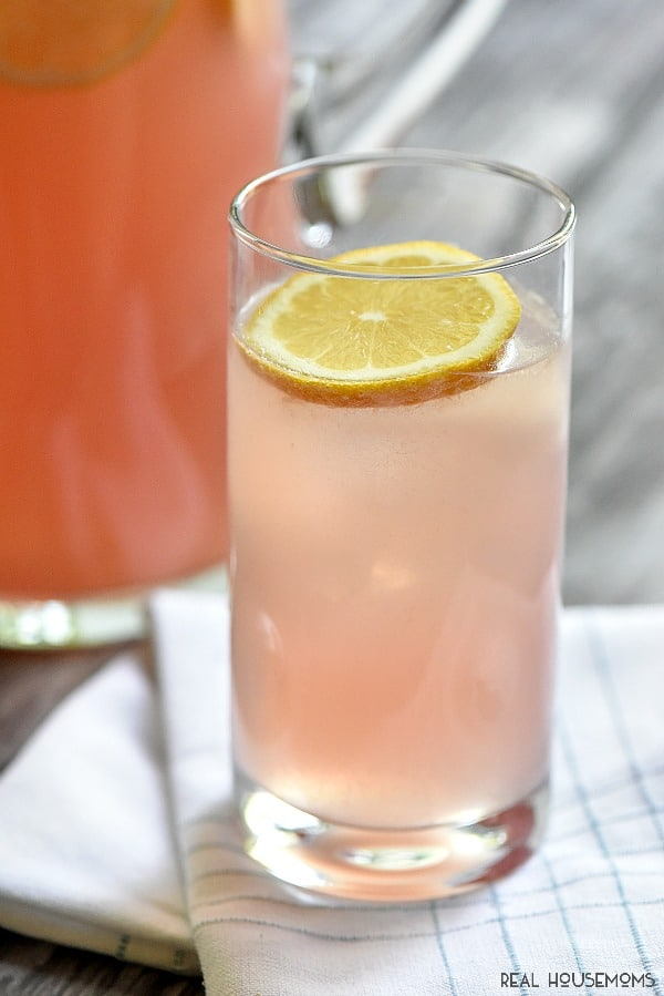 Moscato Pink Lemonade is a refreshing cocktail perfect for a crowd.  Make a pitcher soon!