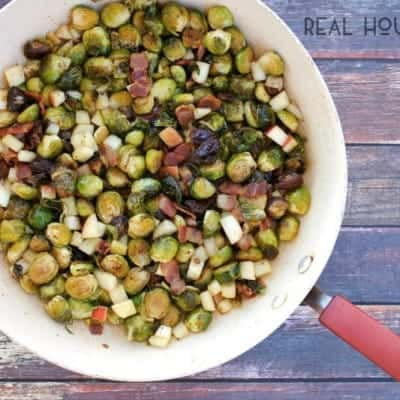 Brussels Sprouts with Bacon, Dates, and Apples