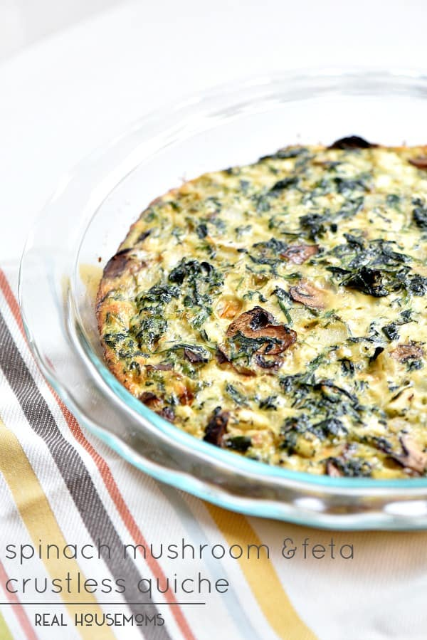 Spinach Mushroom Feta Crustless Quiche is the best breakfast or dinner without all the guilt!
