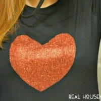 Super Simple Valentines Day Shirt. Black shirt with red glitter heart