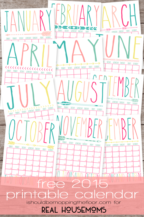 Free Printable 2015 Calendar | Real Housemoms