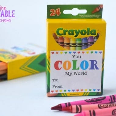 Free Valentine Printable label for Crayons, scissors