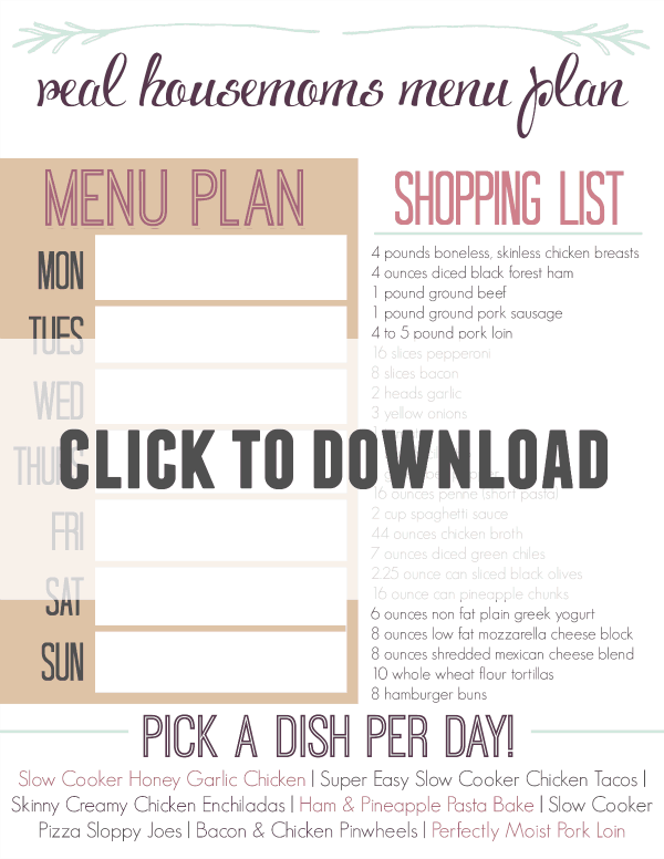Weekly Menu Plan & Shopping List (February 1, 2015)