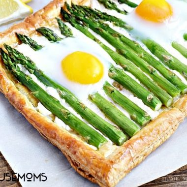 Asparagus Goat Cheese Tart Tender asparagus, tangy goat cheese, and baked eggs served on a crispy puff pastry