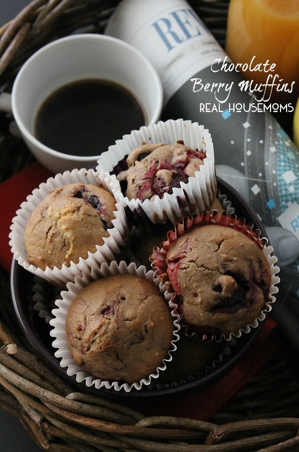 muffin full of mixed berries and chocolate makes these Chocolate Berry ...