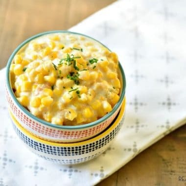 Crock Pot Creamed Corn. Served in a festive bowl