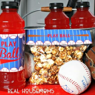 "Baseball snack printables. Printables read ""PLAY BALL """