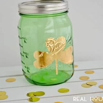 Gold Leaf Shamrock Mason Jar