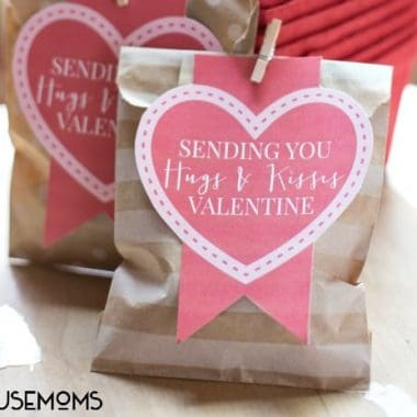 "Hugs and Kisses Valentines day gift bag. Small paper bag with heart printable cut out that reads ""sending you hugs & kisses valentine"""