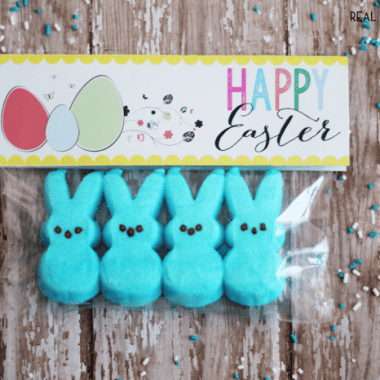 "Easter Printable for easter goody bags. Printable reads ""Hapy easter"" bag has blue easter bunny peeps inside. printable stabled to seal bag"
