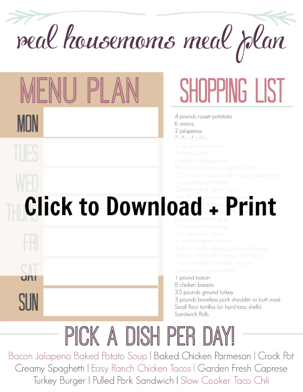 RH Meal Plan Week Three Print