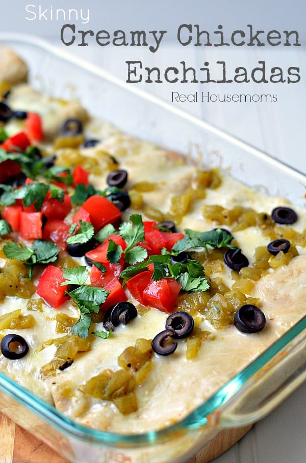 Skinny Creamy Chicken Enchiladas taste like they're full of guilt but they're on the lighter side!