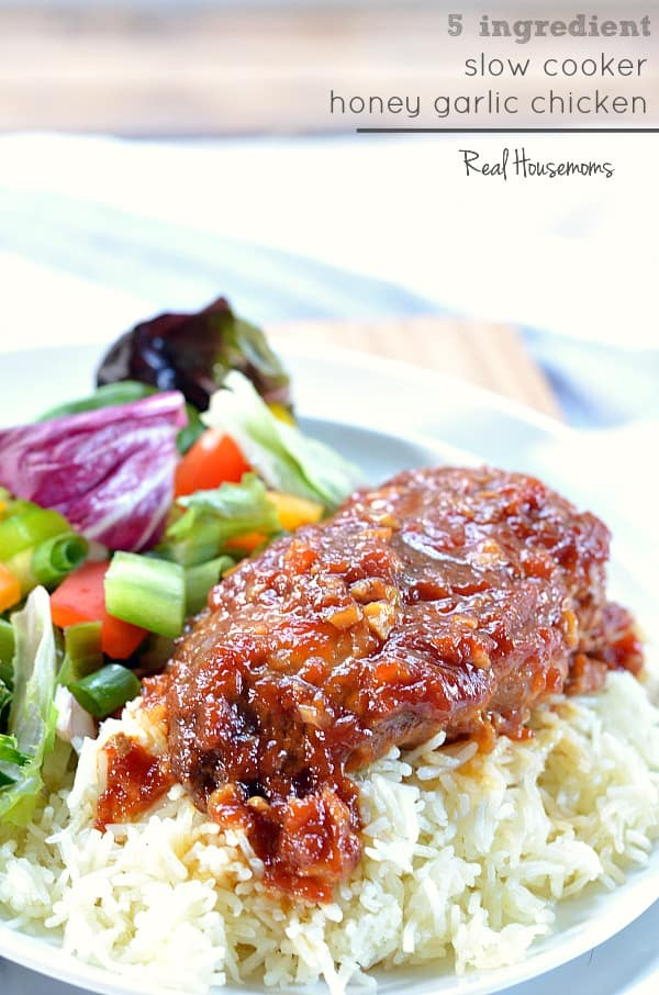 Slow Cooker Honey Garlic Chicken makes dinner easy! Let the crock pot do all the work for you!