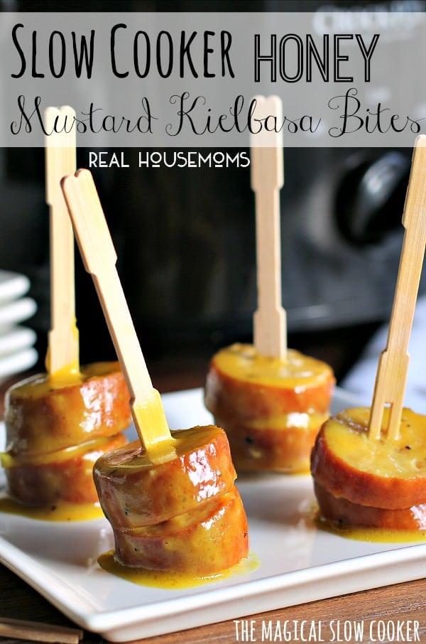 Slow Cooker Honey Mustard Kielbasa Bites l Real Housemoms