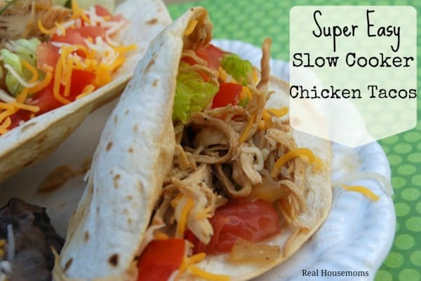 Super Easy Slow Cooker Chicken tacos make my life easy! I always make a double batch to use later in the week!