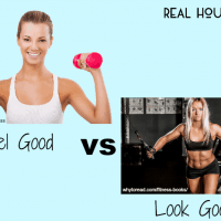 "Is fitness just about looking good? women holding light pink dumbells ""feel good"" vs women doing cable flys ""look good"""