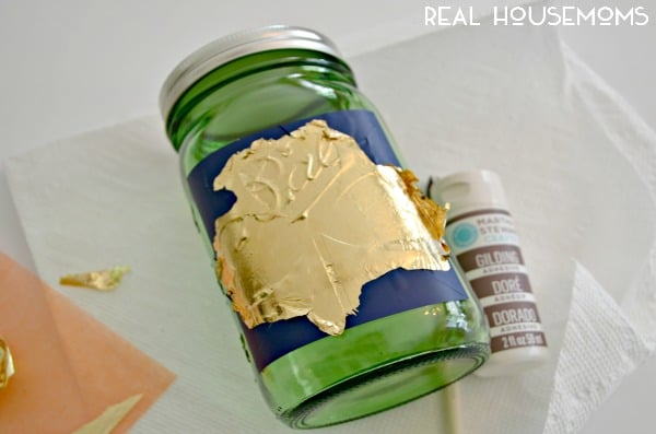 Gold Leaf Shamrock Mason Jar for St. Patrick's Day | Real Housemoms