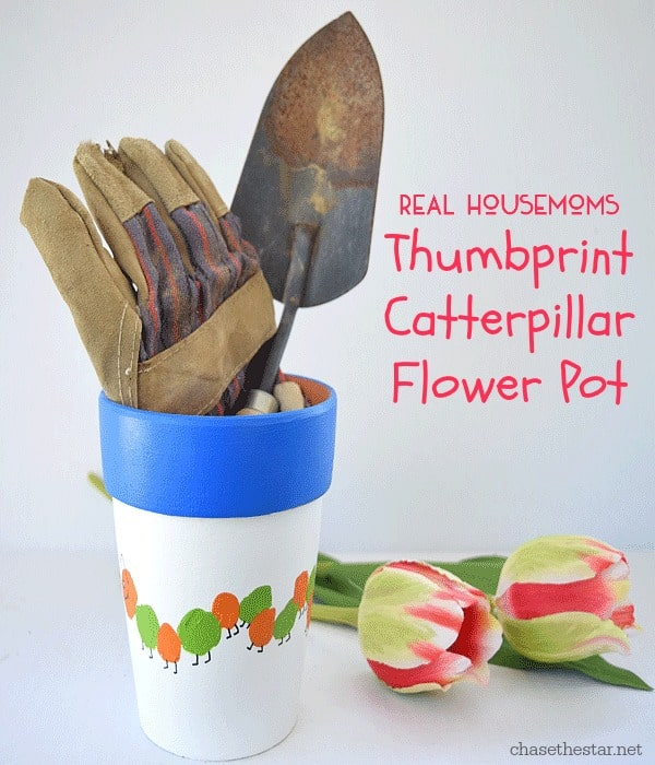 Thumbprint Caterpillar Flower Pot | Real Housemoms