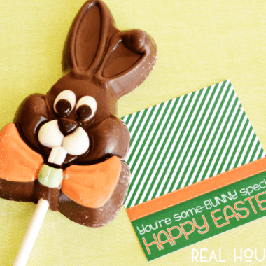 Easter Gift tag, Some bunny special, free printable easter gift tag. Tag is attached to chocolate bunny on a stick