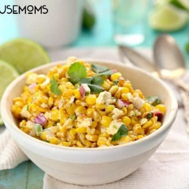 skinny mexican street corn. Served in a bowl with a side of Lime