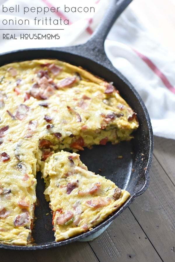 Bell Pepper Bacon Onion Frittata is so easy and tasty!!! It's a great breakfast for any level cook!