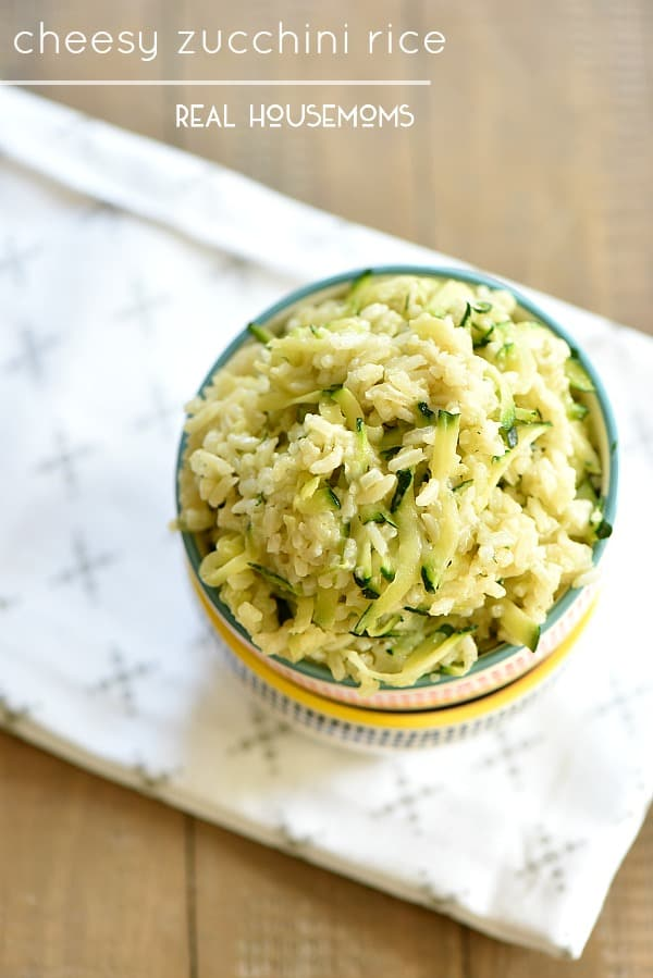 Cheesy Zucchini Rice is a super tasty way to jazz up your rice and get kids to eat more green!