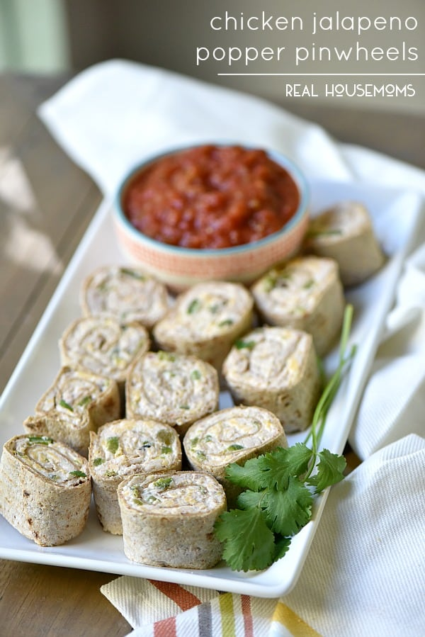 Chicken Jalapeno Popper Pinwheels are my go to appetizer for parties or potlucks!