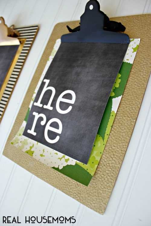 Easy Clipboard Art!  Easy and Inexpensive Art for your walls!  Free Printable included!