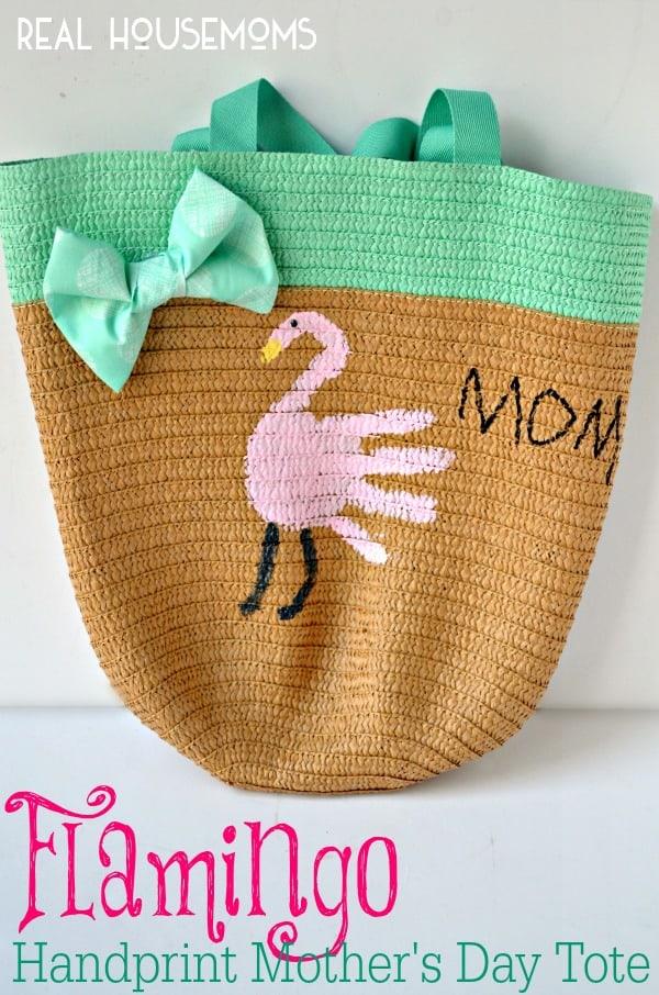 Flamingo Handprint Mother's Day Tote Bag   Real Housemoms