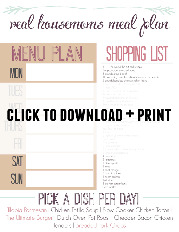 Real Housemoms' Weekly Meal Plan : Week 5