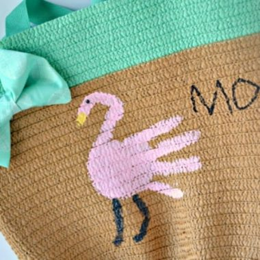 Flamingo Handprint Mother's Day Tote Bag