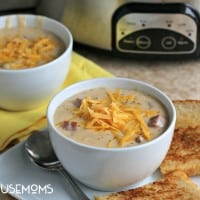 Slow Cooker Ham and Potato Cheese Soup l Real Housemoms