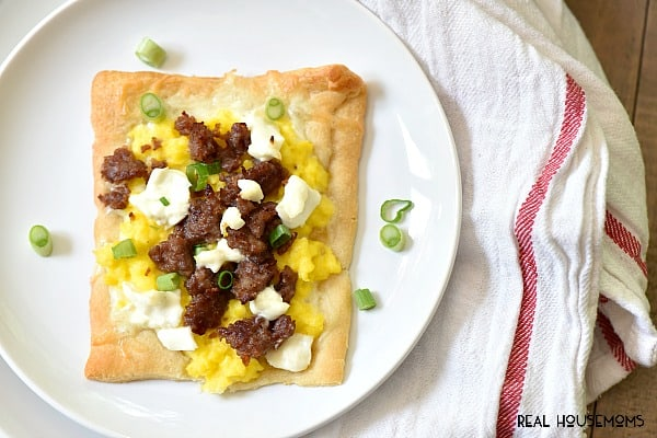 Breakfast Pizza is our new weekend breakfast! The kids love to help!