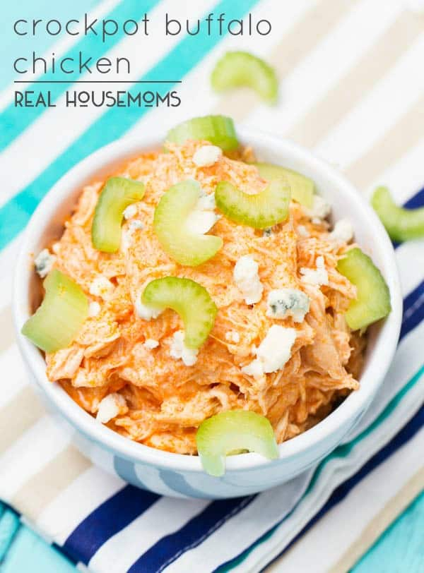 Ridiculously easy, bold and flavorful crockpot buffalo chicken. All the chicken wing flavor you love in a healthy dish you can have waiting for you when you get home!