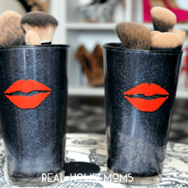 DIY Glitter Makeup (Brush) Holder | Real Housemoms