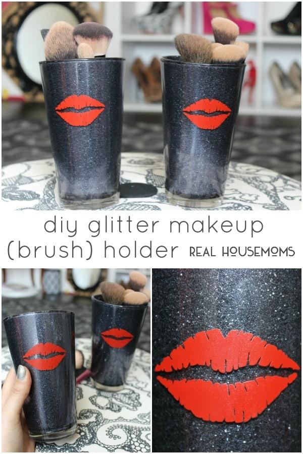 DIY Glitter Makeup (Brush) Holder | Real Housemoms