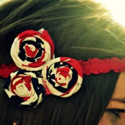 Red White and Blue Rosette Boho Headband
