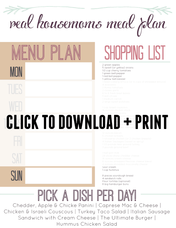 Real Housemoms Meal Plan Week 6 Printable Shopping List