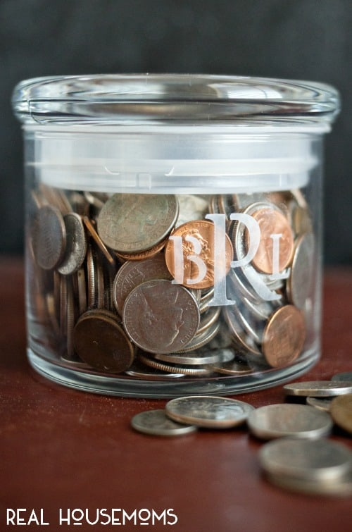 Monogrammed Coin Jar | Real Housemoms
