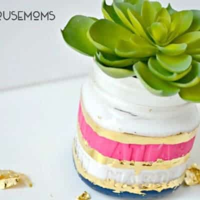 Painted Faux Succulent Mason Jar
