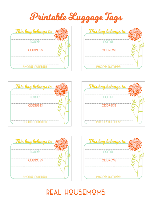 photo regarding Free Printable Luggage Tags called Printable Bags Tags ⋆ True Housemoms