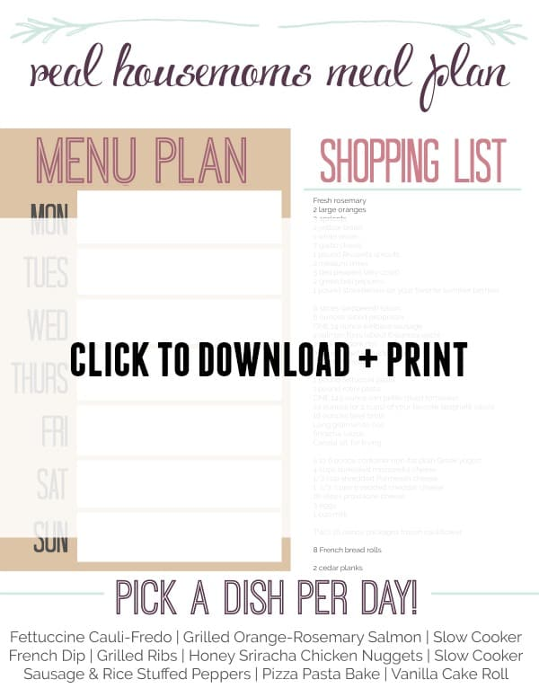 Week 8 Meal Plan Print