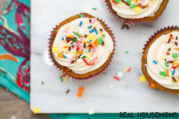 Soft decadent Funfetti Cupcakes with buttercream frosting and extra sprinkles will take you back to your childhood--get the real deal easily with no box required!