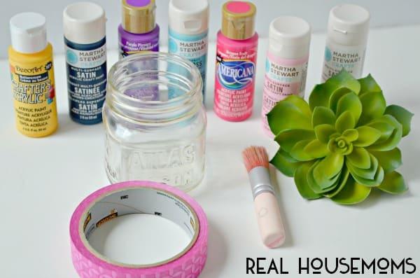 Painted Faux Succulent Mason Jar   Real Housemoms